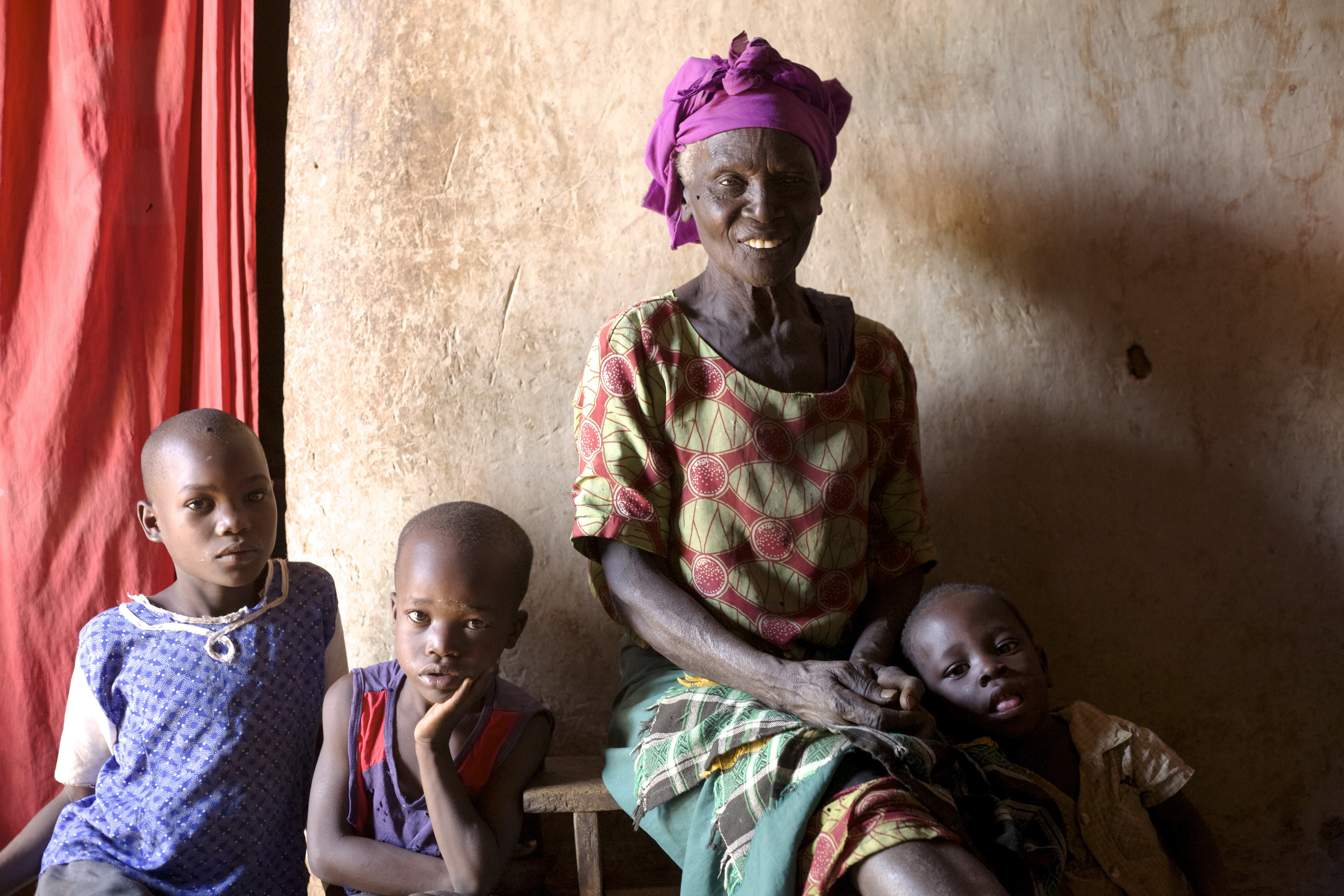 Grandmother and her three grandchildren in Kenya.