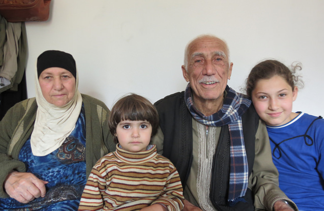 Syrian refugee family living in Lebanon.