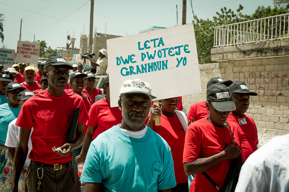 Older people march for their rights in Haiti.
