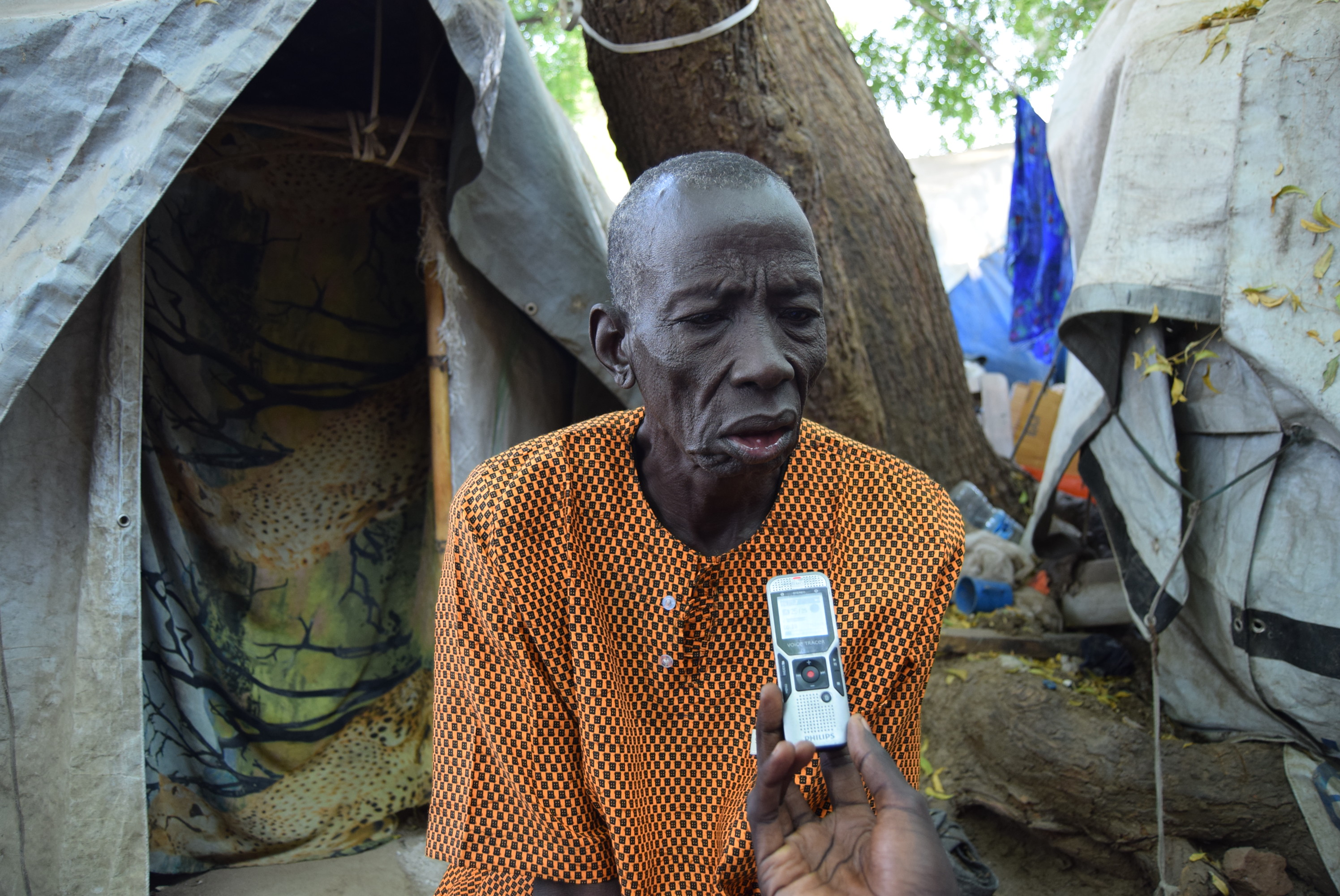 An older man is interviewed in Juba, South Sudan.