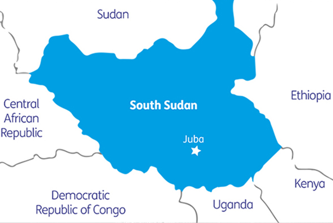 A map of South Sudan