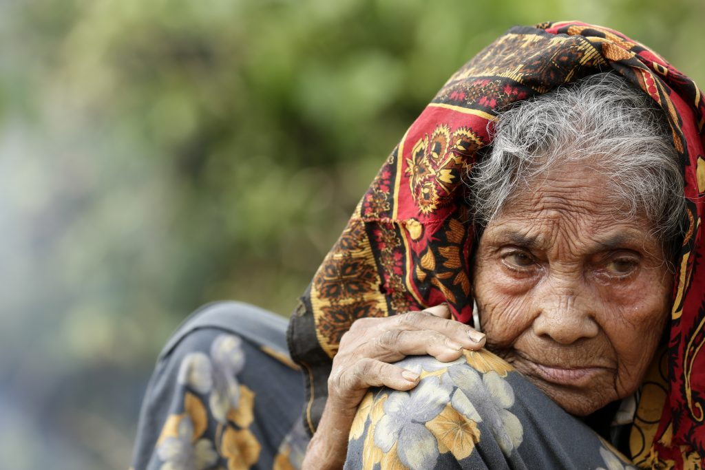 A closeup of Kulle, a 100-year-old Rohingya refugee