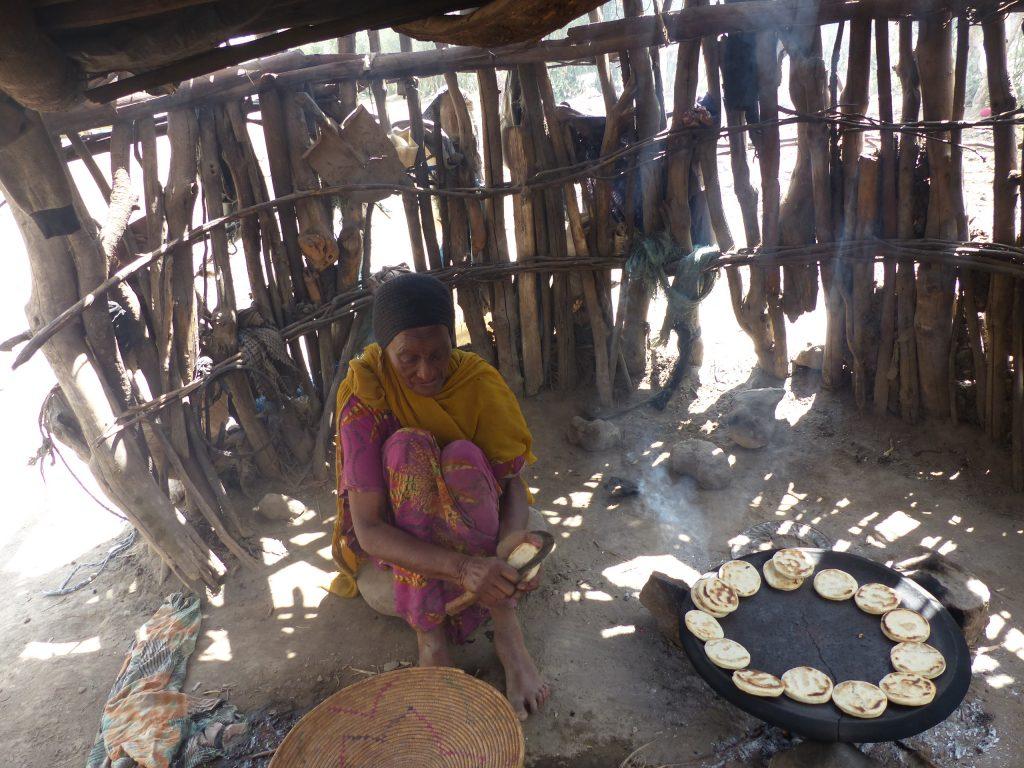 Haleema bakes bread in Ethiopia